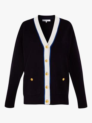 Gerard Darel Eleonora Stripe Button Placket V Neck Cardigan, Navy