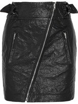 Isabel Marant Breezy Crinkled Faux Leather Mini Skirt - Black
