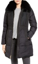1 Madison Women's Lace Trim Down Coat With Genuine Fox Fur Collar