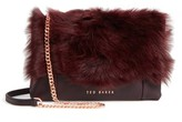Ted Baker Fuzzi Genuine Shearling & Leather Convertible Crossbody Bag - Red