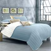 Laurèl Ultra Soft Reversible Twin Quilt Set in Baby Blue/White