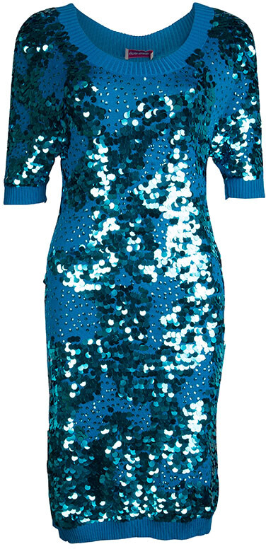 Matthew Williamson Turquoise Silk Rib Knit Embellished Dress M
