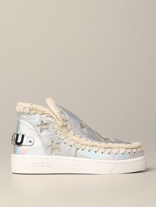 Mou Stars Eskimo Sneakers In Laminated Leather With Stars