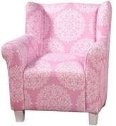 Kinfine Youth Upholstered Club Chair, Pink and White Medallion