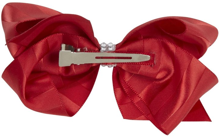 Wee Ones Satin Stripe Bow - Red-One Size