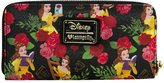 Loungefly Disney Beauty And The Beast Floral Rose All Over Print Zip Around Wallet