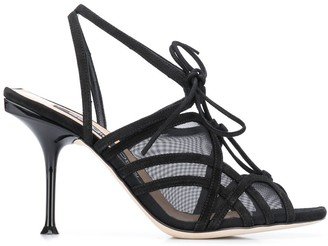 Sergio Rossi Lace-Up Mesh Sandals