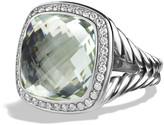 David Yurman 14mm Albion Prasiolite & Diamond Ring, Size 5