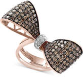 Effy Espresso Diamond Bow Ring (3-3/8 ct. t.w.) in 14k Rose Gold and Black Rhodium Plate