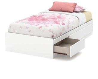 South Shore Callesto Twin Mates Bed with 3 Drawers, White