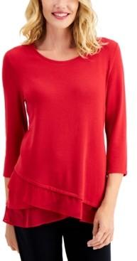 JM Collection Asymmetrical Chiffon-Hem Tunic, Created for Macy's