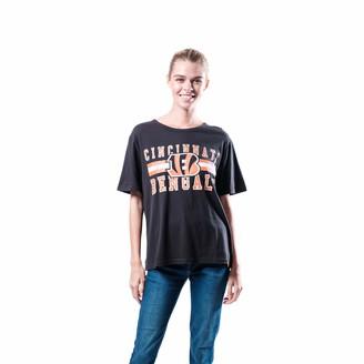 Ultra Game NFL Cincinnati Bengals Womenss Distressed Graphics Soft Crew Neck Tee Shirt Team Color X-Large