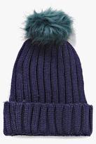 Boohoo Lauren Faux Fur Pom Beanie Hat