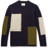 Folk Colour-block Wool-blend Sweater - Midnight blue