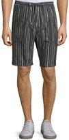 CNC Costume National Drawstring-Waist Striped Shorts, Black/White