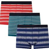 John Lewis Multi Stripe Trunks, Pack of 3, Red/Green/Navy