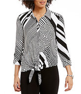 Peter Nygard Point Collar 3/4 Sleeve Tie-Front Blouse
