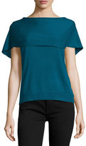 Halston Short-Sleeve Cape-Back Poncho, Atlantic