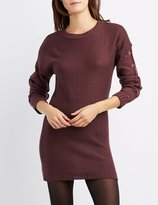 Charlotte Russe Pointelle Sleeve Sweater Dress
