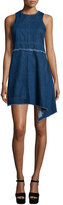 Nicholas Sleeveless Asymmetric-Hem Denim Dress, Blue