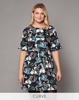 Yumi Curve Lily Snowdrop Print Ruffle Dress