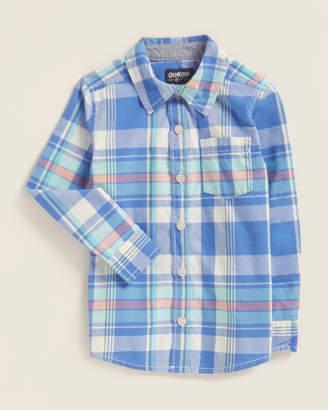 Osh Kosh Toddler Boys) Blue Plaid Pocket Shirt