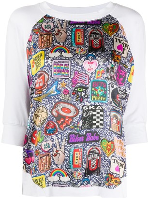 Glam Rock Print panelled T-shirt