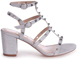 Linzi TESSA - Silver Glitter Textile Material Studded Block Heeled Sandal