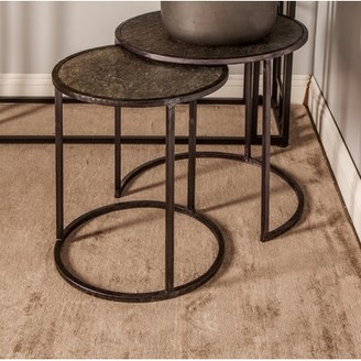 Ivy Bronx Rochell Contemporary Round Iron 2 Piece Nesting Tables