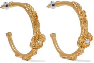 Kenneth Jay Lane 22-karat Gold-plated Faux Pearl Hoop Earrings