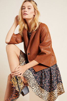 Anthropologie Hayden Embroidered Faux Leather Jacket By in Brown Size XL