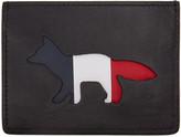 MAISON KITSUNÉ Black Tricolor Fox Card Holder