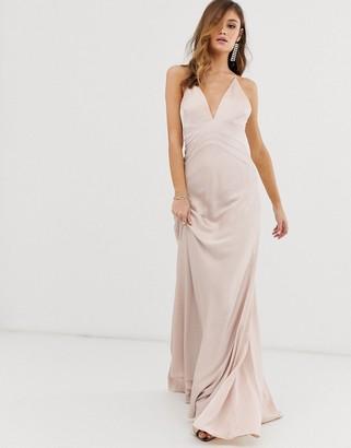 ASOS EDITION satin panelled cami maxi dress