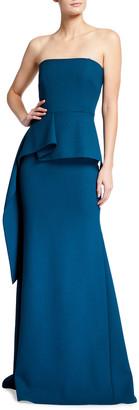 Roland Mouret Adrienne Strapless Peplum Gown