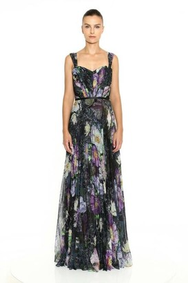 Marchesa Notte Sleeveless Sweetheart Bodice Pleated Printed Chiffon Gown