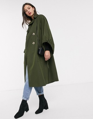 Asos DESIGN extreme sleeve trench coat in khaki