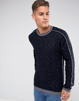Sisley Crew Neck Sweater with Reverse Stitch and Contrast Seam