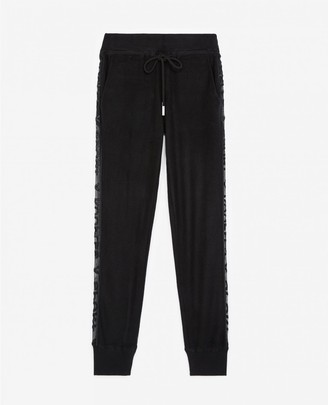 The Kooples Black fleece joggers with tulle detail