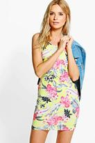 Boohoo Darcey Printed Strappy Bodycon Dress