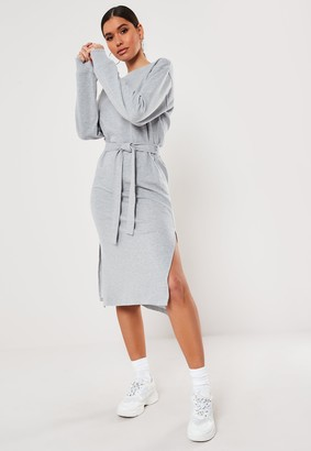 Missguided Grey Tie Waist Midi Sweater Dress
