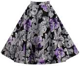 Kuji Womens High Waist A Line Vintage Floral Print Skirt Skater Pleated (S, )