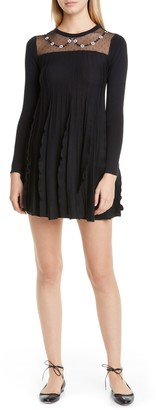 RED Valentino Illusion Yoke Ruffle Long Sleeve Wool Sweater Dress