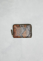Dries Van Noten brown snakeskin small zip around wallet
