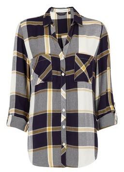 Dorothy Perkins Womens Navy And Ochre Check Print Shirt, Navy