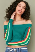 Silence & Noise Silence + Noise Rainbow Off-The-Shoulder Sweater