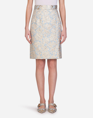 Dolce & Gabbana Short Lame Jacquard Skirt
