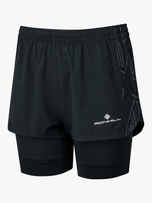 Ronhill Tech Marathon Twin Running Shorts, All Black