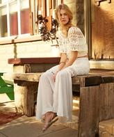 Vix Paula Hermanny Solid White Crochet Long Skirt