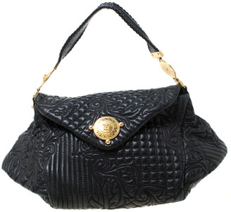 Versace Black Quilted Barocco Leather Top Handle Bag