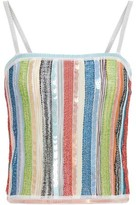 Missoni Sequin-embellished Metallic Striped Crochet-knit Top